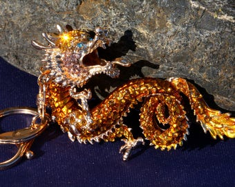 Dragon, Gold keychain accented with rhinestones