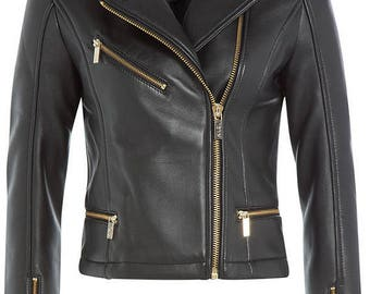 New Ladies Women Genuine Real Leather Slim Fit Black Biker Jacket