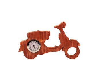 Vespa wooden table clock, great gift!
