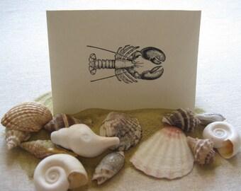 6 Handmade Lobster blank notecard set