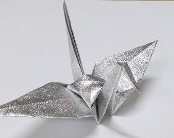 Large Silver Origami Cranes ** 100 pcs