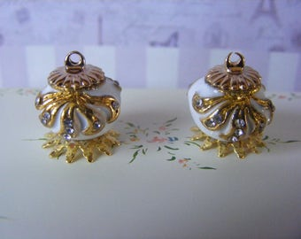 1/12 Pair of White and Gold Enamel Urns
