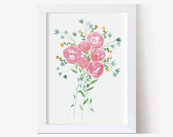 Watercolor Painting, Watercolor Picture Floral Bouquet Art Print, Watercolor Print, Watercolor Art, Floral Pictures, Hand Painted (8x10)
