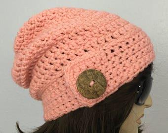 Women Crochet Hat Women Chunky Slouchy Beanie with Button Women Accessories Fall Fashion Winter Hat
