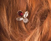 Ruby Red or Baby Pink Crystal Vintage Gold Hair Pins - Bridesmaid hair accessories - Bridal Hair Slides Clips - Prom Wedding