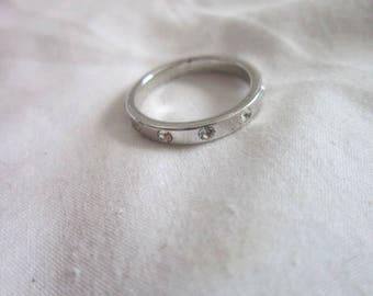 Vintage Silver & Rhinestone  Ring Band