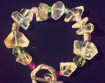 Citrine and rose quartz bracelet