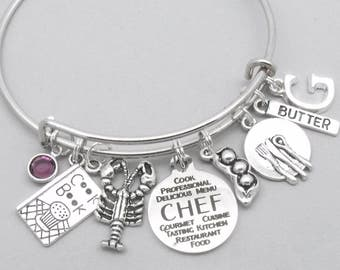 Chef charm bracelet   cooking bracelet   chef bracelet   chef gift   personalised cook bracelet   cooking gift   initial letter