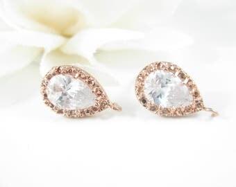 1PR Rose Gold Earring Findings, Sterling Silver Posts, Pear Cut CZ Earrings, Wedding Supply