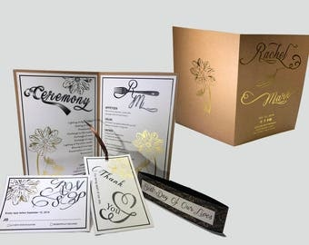 Kraft Paper Romance Foil Wedding Invitation   - Wedding Invitation Suite-