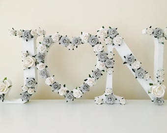 wedding gift // flower and floral letter // engagement gift // couples gift // wedding gift // flower letter // anniversary gift