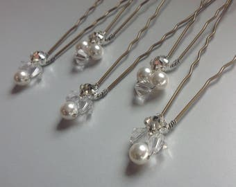 Wedding Hair Pins x5 Swarovski Crystal Pearls Clear Crystals & Diamante Crystals