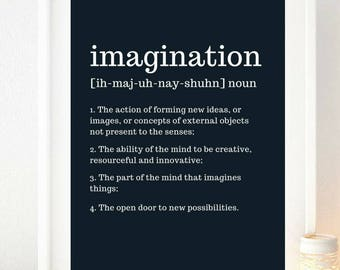 Imagination Definition Typography Print A4 Wall Art Motivation