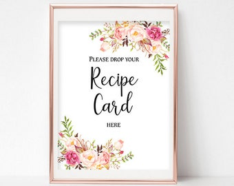 Please Drop Your Recipe Card Here Sign Recipe Card Drop Decor Bridal Shower Recipe Card Sign Recipe Box Sign 4x6, 5x7, 8x10 Pastel Blooms