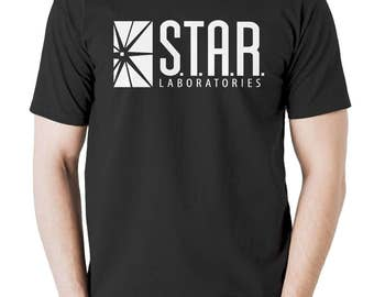 New Star Labs T shirt The Flash Star Laboratories Mens Tshirt Black All Sizes