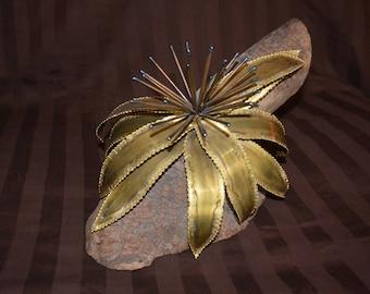Brass Flower on Driftwood Sculpture