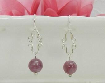 Gemstone earrings,LEPIDOLITE earrings,Wire wrapped jewelry,Healing jewelry,Gemstone healing,Gemstone jewelry,Leverback,Clip on