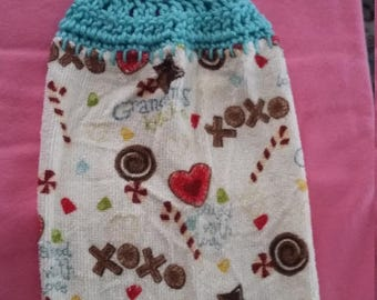 Grandma's Kitchen Towel with Crocheted Top