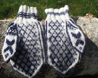 Mittens, Norwegian handknitted wool mittens- selbu pattern gloves