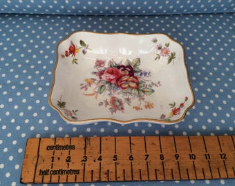 Royal Crown Derby Floral Rectangular Pin Dish