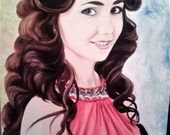 Custom portrait. Custom Paintings from Photo. Oil-painting portrait Personalized Gift.