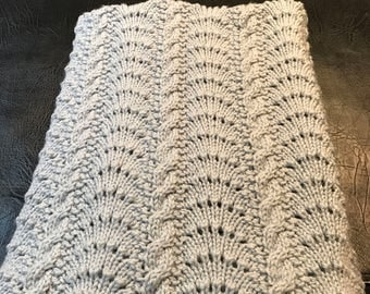 Handmade Blue Cable knit Baby Blanket
