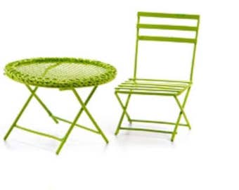 Miniature Dollhouse Green Metal Table and Chair 1:12 Scale