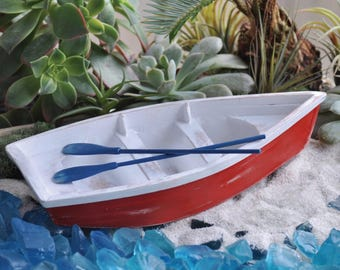 Fairy Garden Dollhouse Miniature Skiff/Rowboat with Oars