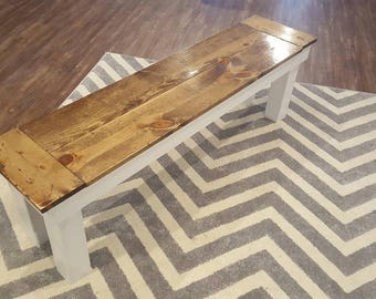 Rustic Wooden Farmhouse Style bench | Fixer Upper | HGTV | kitchen Table | Dining Room table