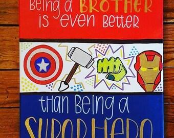 Super Hero Big Brother Hand Painted Canvas Boy Playroom