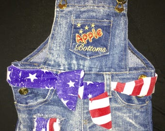 "Apple Bottoms Babys ""4th of July"" Holiday Overalls-3/6 Months"