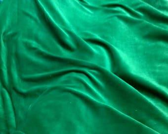 Green Cotton Velvet Fabric,  Bottle Green Velvet Fabric By The Yard