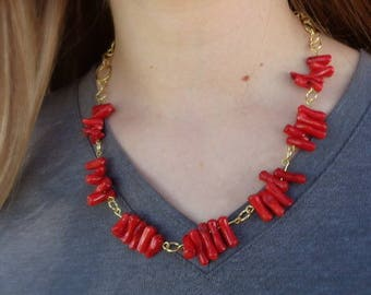 Red coral and brass necklace