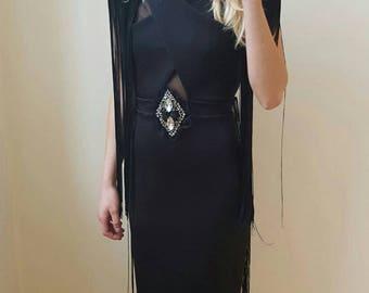 Black fringe body con dress