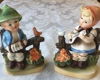 2 Vintage Porcelain Figurines Boy & Girl making Music made in Japan Hummel Style