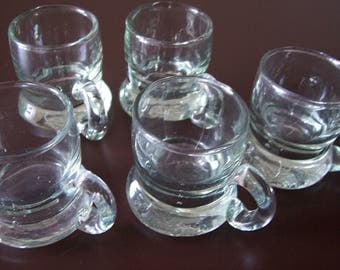 Vintage - 5 small glasses - 70s - as new