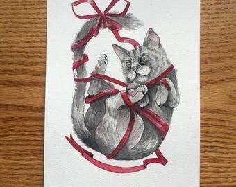 Watercolour Tangled Cat Print