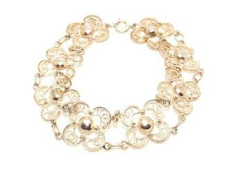 Handmade Vintage Fine Silver 7'' Wire Filigree Floral Link Bracelet