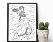 African Goddess Adult Colouring Page, Printable Coloring Pages Zen Doodle Art- Asase Yaa