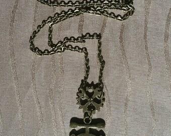 Anchor Gear Clock Necklace