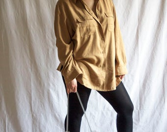 Faux Suede Oversized Shirt