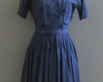 Vintage 60s Nelly Don Double Breasted Blue Plaid Dress w/Matching Belt.