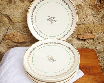 Antique French Gien earthenware dessert plates model Colmar