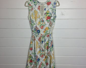 Vintage 1960s Bright Floral Cotton Day Dress / Sundress / Made by Dash About / Crochet Lace Trim / Garden Print