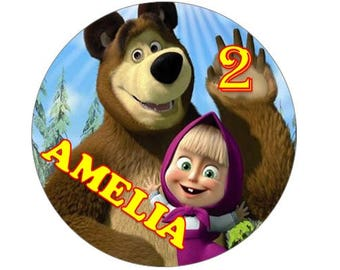 Personalised Masha and the bear edible wafer cake topper