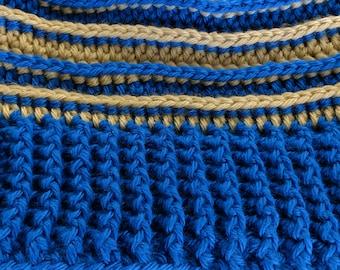 Tan and Medium Blue Ribbed hat