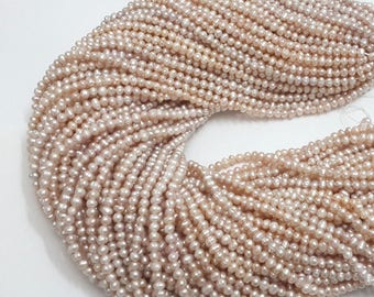 """3-4mm pearl beads, pink lavender, genuine freshwater pearl,loose baroque pearl,fully drilled,tiny pearl,cultured pearl strand,15.25"""" around"""