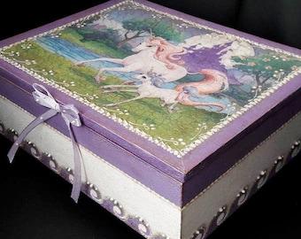 "Hand made wooden jewel box ""Unicorn"" * decoupage unique"