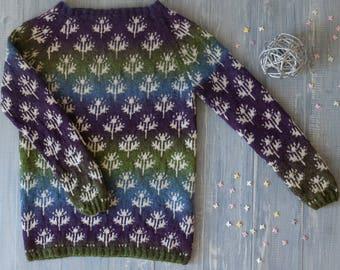Jacquard hand-knit sweater The Lunar fields