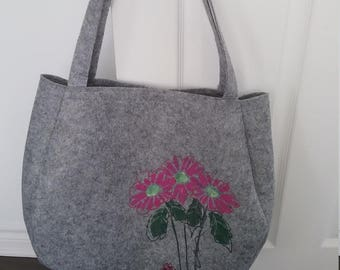 Felt hand painted bag